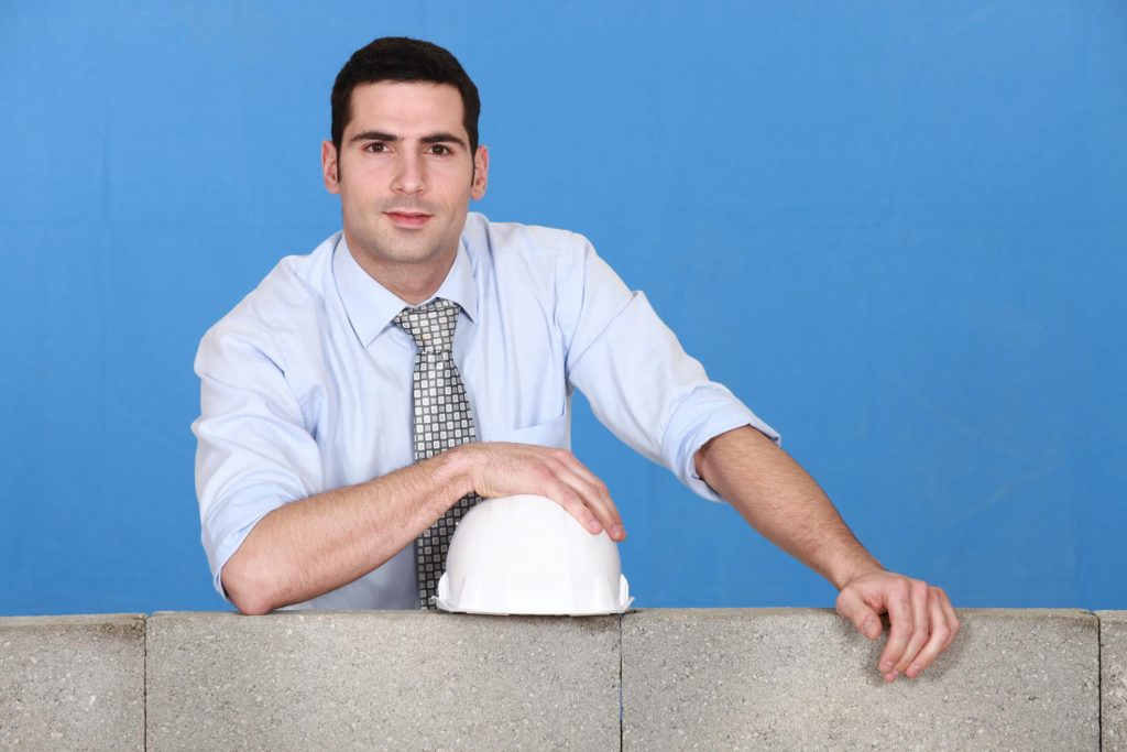man promoting constructional work
